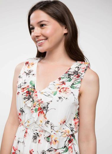 DeFacto Çiçek Desenli Elbise Beyaz